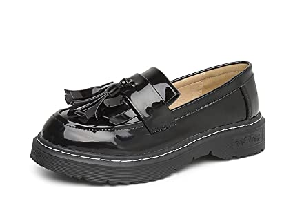 DANDANJIE Womens Loafers England College Style Shoes Tassel Retro Shoes  Spring and Autumn (Color