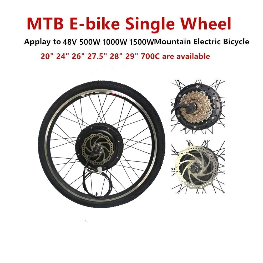 MTB E bike conversion kit 48V 500W 1000W 1500W with tyre disc brake freewheel