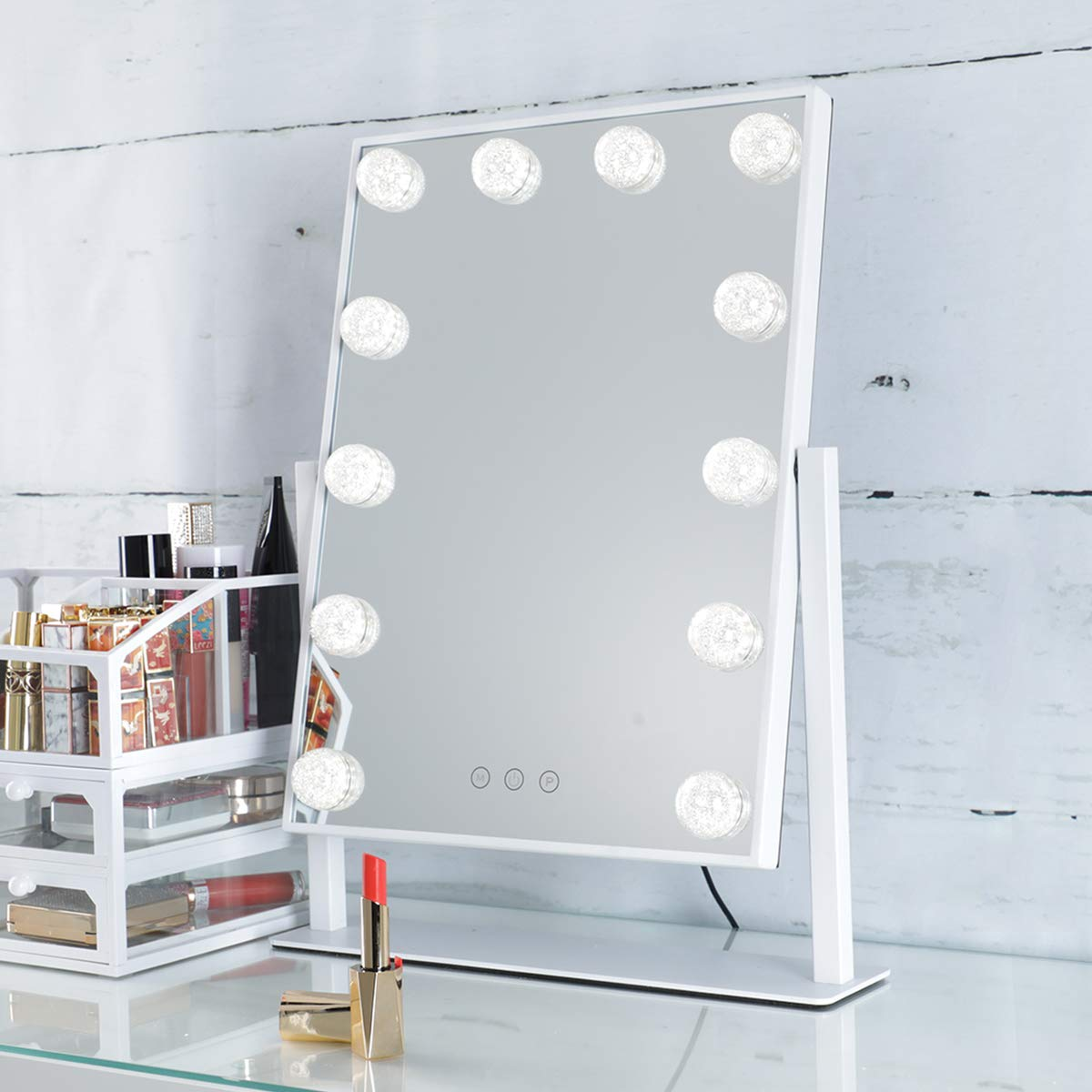 SHOWTIMEZ Lighted Vanity Mirror, Hollywood Makeup Mirror with Lights, Tabletop mirror with Touch Screen, 3 Light Modes, Brightness adjustable, 11.8 x 16.1 inch, White