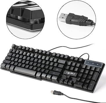 HXSJ R8 LED Illuminated Backlight USB Wired PC Gaming Keyboard Russian English