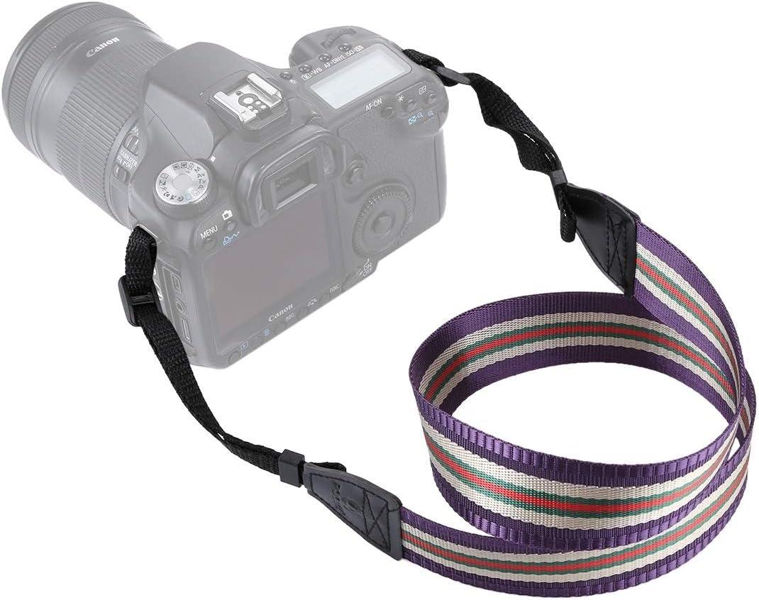 Stripe Style Series Shoulder Neck Strap Camera Strap for SLR//DSLR Cameras Durable Color : Purple