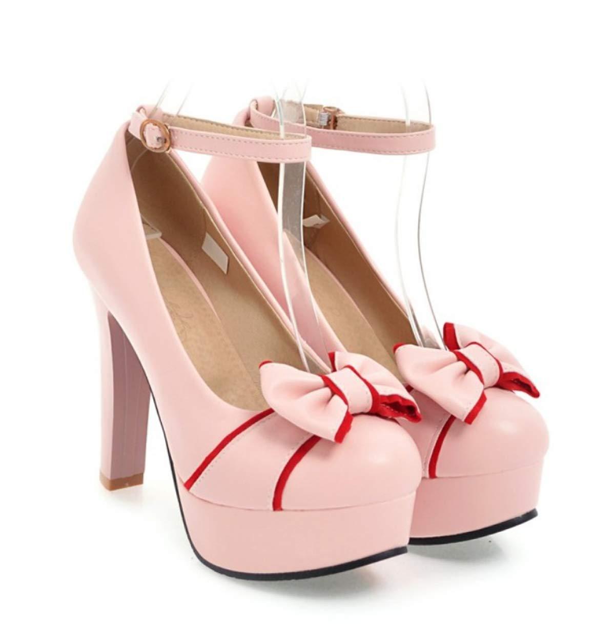 HBDLH Damenschuhe/Im Frühjahr 12Cm High Heels Einzelne Schuhe Süß Bogen Grob und Flach Faltet Die Damenschuhe.