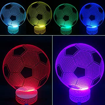 amazon com 3d illusion led night lamp soccer by azalco baby