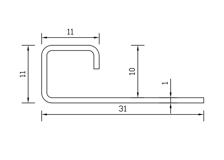 kein Verdrehen m/öglich 1mm St/ärke 250cm Schiene 2,5 METER H/öhe: 8mm PREMIUM FUCHS Fliesenschiene Quadratprofil Edelstahl V2A Geb/ürstet
