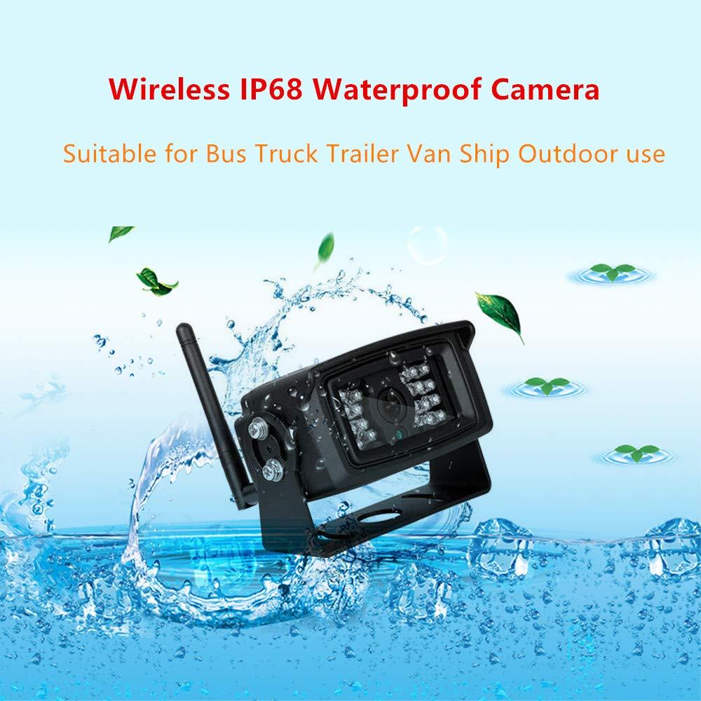 IP67 Waterproof Wireless Camera for RV Truck Trailer Heavy Box Truck Motorhome 7 Wireless Reversing Split Screen Monitor One Camera WeniChen Wireless Backup Camera with Monitor System