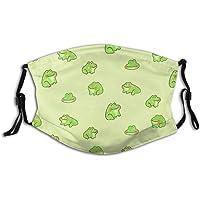 Grappig, schattig dier Happy Little Frogs gezichtsmasker sjaal, wasbaar, herbruikbare volwassen bandana's met 2 filters…