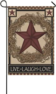 "Rossne G sun Garden Flag Country Primitive Barn Star Wreath Live Laugh Love House Flag Decoration Double Sided Flag 12.5"" x 18"""