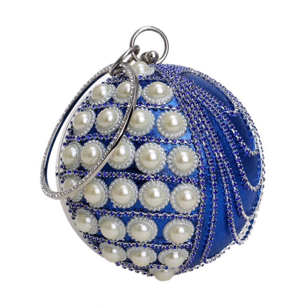 bluee Soft Ladies Round Ball Clutch Bag Pearl Diamond Tassel Evening Bag Wedding Purse Party Prom Wrist Bag Handbags Handbag (color   Red, Size   Diameter13cm)