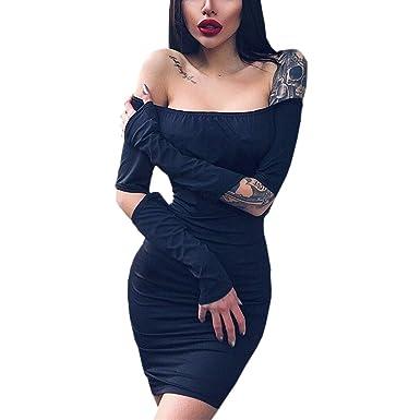 c7648c3dbf6d97 WENFUMEI Off Shoulder Bodycon Mini Dress Women Cut Out Long Sleeve Shirt  Clubwear (Color :