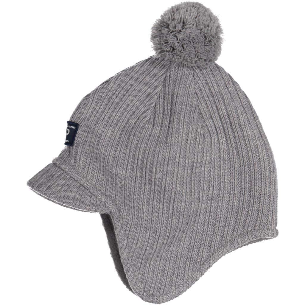 Polarn O. Pyret Peaked Brim Winter Wool HAT (2-9YRS) - Grey Melange/2-9 Years