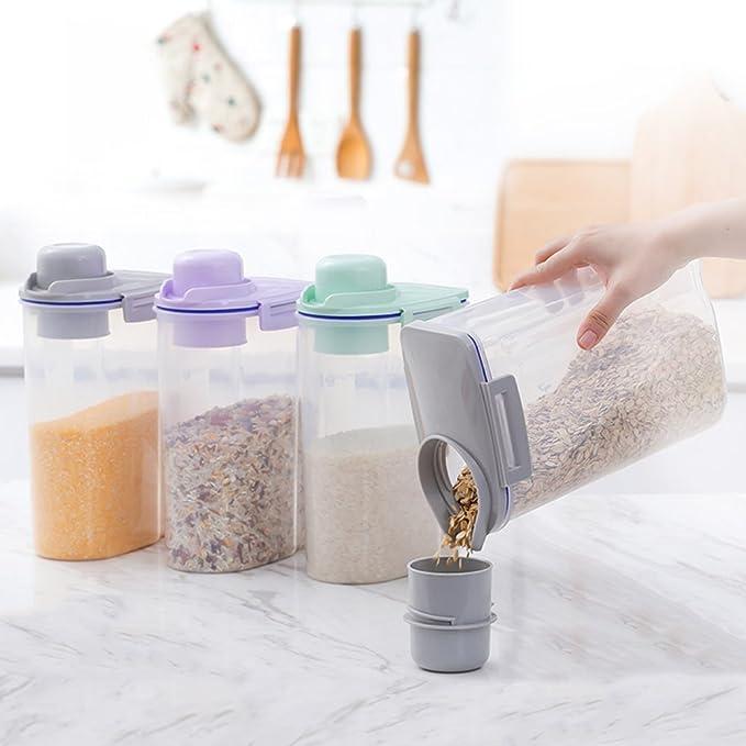 AnseeDirect Cereal Container Recipientes para Alimentos con Taza de Medir Sin BPA 4.4 Lbs / 2KG Tarros Hermeticos Plastico para Harina, Azúcar, Arroz, Smal, ...