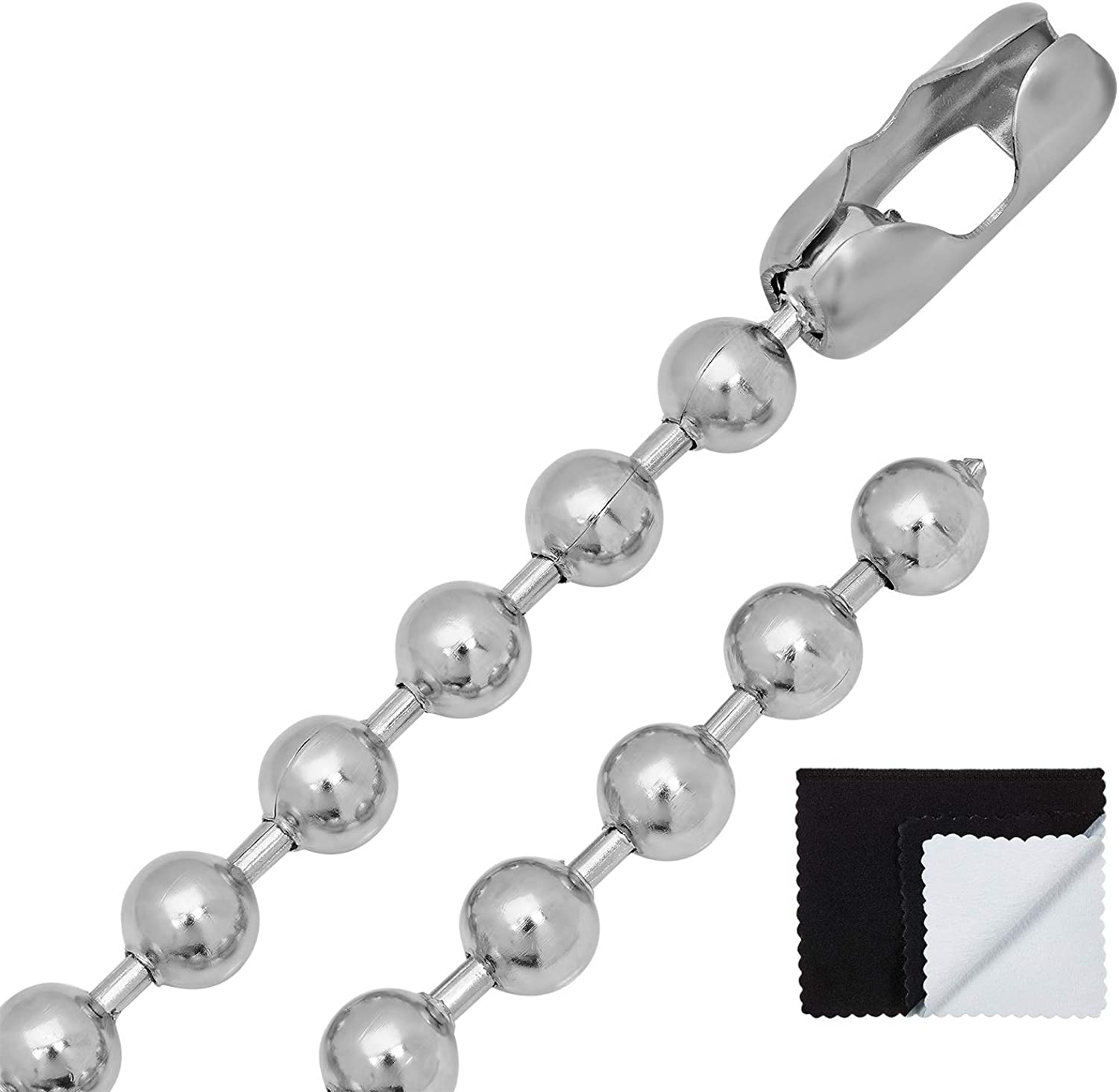 The Bling Factory 2mm-8mm High-Polished Stainless Steel Round Ball Chain Necklace, 16'-40 + Jewelry Cloth & Pouch