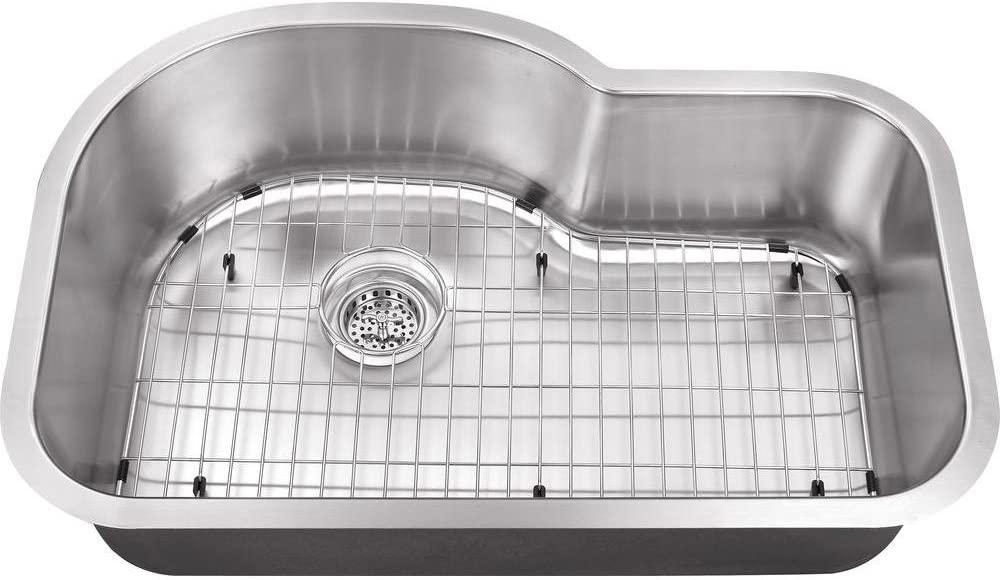 Schon SCSBE18 Undermount 18-Gauge Single Bowl Kitchen Sink with Curved Back 31 1 2-Inch by 21-Inch, Stainless Steel