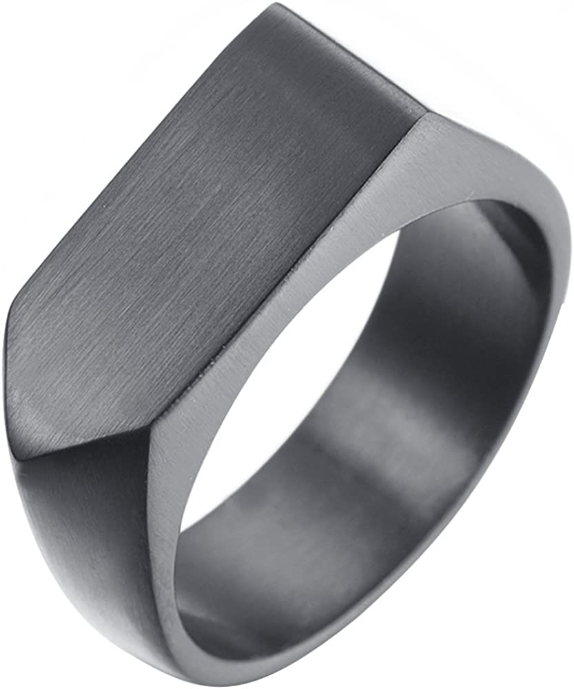 LANHI Mens Stainless Steel Simple Square Band Ring Signet Style 18k Gold Plated