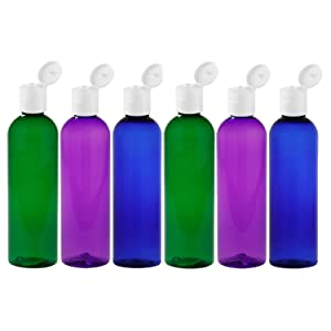 Moyo Natural Labs Psychedelic Trio 4 oz Travel Bottle Set BPA Free Refillable 4 Oz bottle Refillable Container Made in USA Green Blue Purple Pack of 6