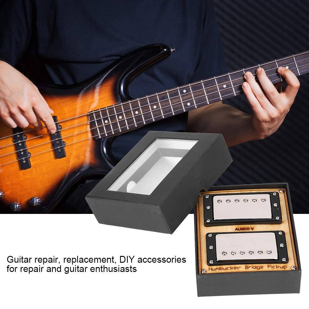 2 Pcs 2-Wires Alnico V Magnet Soapbar Humbucker Neck /& Bridge Pickup with Alloy Frame Guitar Part Accessory Black Frame Guitar Neck /& Bridge Pickup