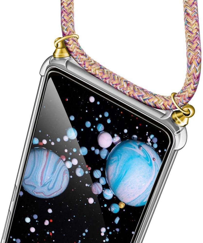 JMstore Funda Compatible con Samsung Galaxy A50//A50S//A30S Transparente TPU PC Carcasa.movil con Colgante//Cadena.Protectora ponible Cord/ón Cruzado