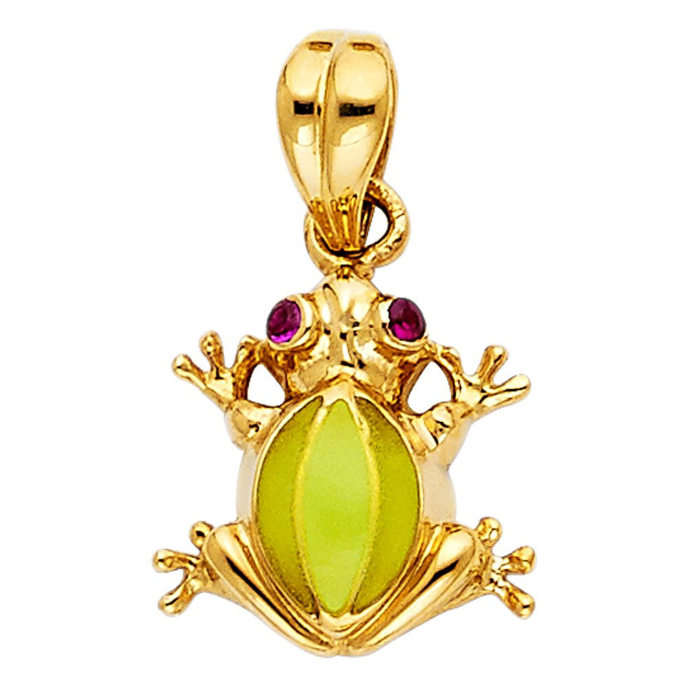 14k Yellow Gold Frog Pendant Charm