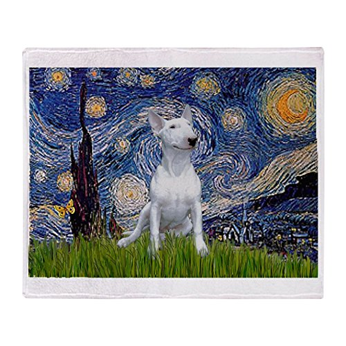 CafePress Starry Night/Bull Terrier Soft Fleece Throw Blanket, 50