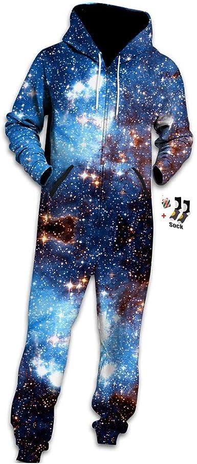 Morbuy Sudadera con Capucha de Hombre, Trabajo Jumpsuit Pijama en Una Sola Pieza Manga Larga Impresión 3D Cierre de Cremallera Playsuit Adulto
