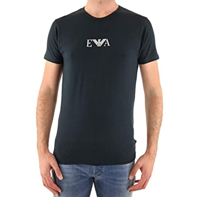 9cfc7494ff5 Lot de 2 tee-shirts col rond Emporio Armani bleu marine floqué du ...
