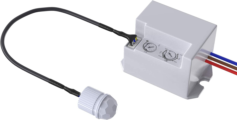 Garza Power - Detector de Movimiento Infrarrojos Integrable, Ángulo de Detección 360º, color Blanco
