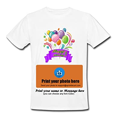 fdb412c26 Sprinklecart Happy Birthday T Shirts Custom Photo Printed T Shirts - Design  8: Amazon.in: Clothing & Accessories