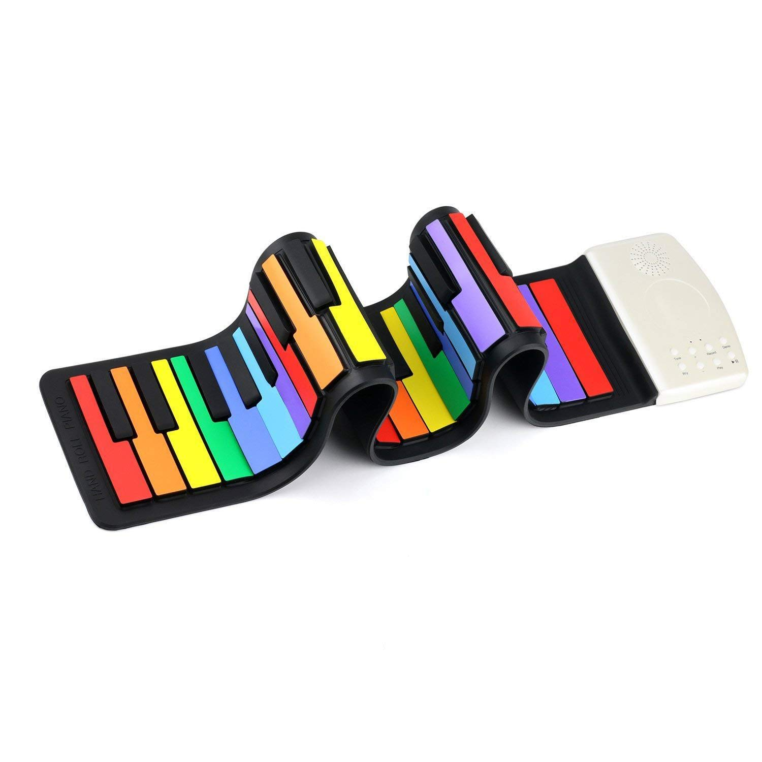 DSYYF Multifunctional 49 Keys Roll Up Rainbow Piano Portable Electronic Hand Roll Piano Environmental Silicone Piano Keyboard for Beginners by DSYYF
