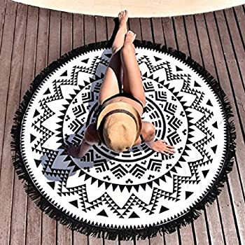 RawyalCrafts- Green Peacock Indian Mandala Round Roundie Beach Throw Tapestry Hippy Boho Gypsy Cotton Tablecloth Beach Towel best