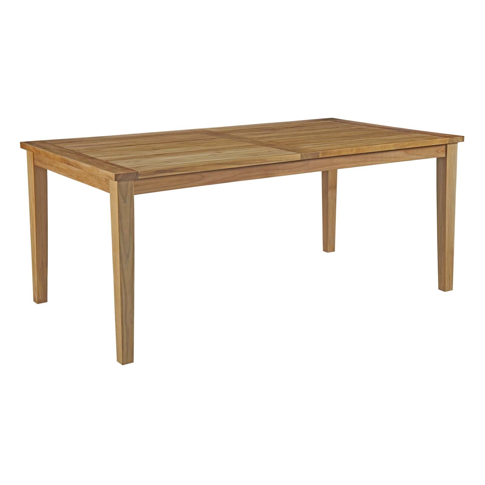 Modway Marina 72'' Teak Wood Outdoor Patio Dining Table in Natural