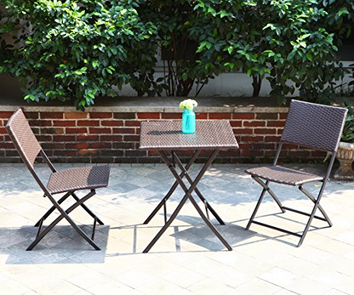 Grand Patio Parma Rattan Patio Bistro Set, Weather Resistant Outdoor  Furniture Sets With Rust Proof Steel Frames, ...