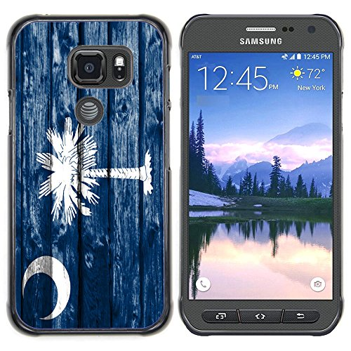 FJCases South Carolina The Palmetto State Wood Pattern Flag Slim & Thin Hard Case Cover for Samsung Galaxy S7 Active