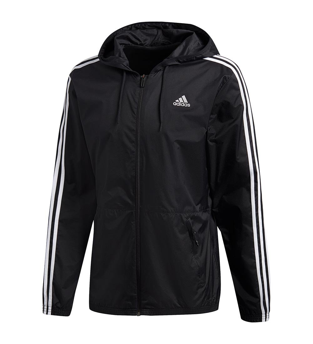 adidas Men's Essentials Wind Jacket, Black/Black/White, 3X-Large