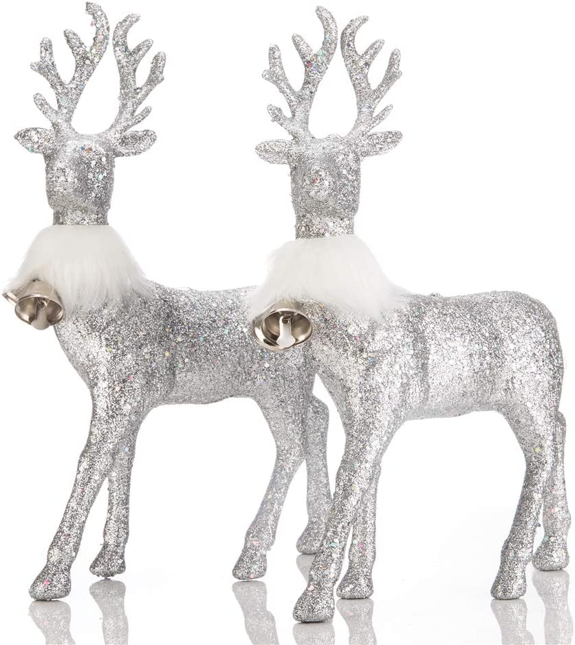 SANNO Glitter Reindeer Decorations Christmas Deer with Bell Lovely Decor Holiday Reindeer Figurines Standing Silver Glitter Indoor Decorative Ornaments Winter Decor