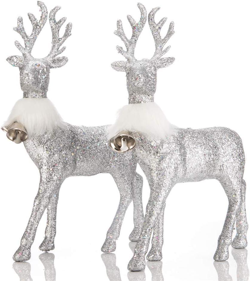 blitzlabs Silver Glitter Reindeer Christmas Decoration Deer Ornament Figurines Homely Decorative for Living Room, Tabletop, Kitchen,Mantle, Shelf,Desk Winter Display Decor, Set of 2, Freestanding