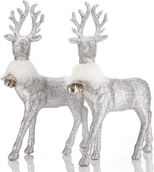 Office/& More,Set of 2 Holiday Decorative Indoor Freestanding for Living Room Tabletop blitzlabs Christmas Reindeer Gold Glitter Deer Ornament Winter Decor Mantle Shelf Kitchen Desk