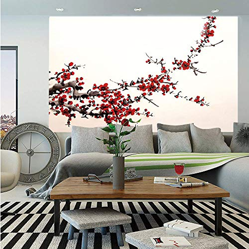 Art Huge Photo Wall Mural,Elegance Cherry Blossom Sakura Tree Branches Ink Paint Stylized Japanese Pattern Decorative,Self-Adhesive Large Wallpaper for Home Decor 100x144 inches,Red Cream Brown ()