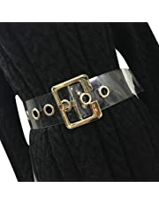 Women Fashion Holographic Clear Wide Belt Transparent PVC Metal Buckle Waist Belt Waistband Cinch Dress Belt