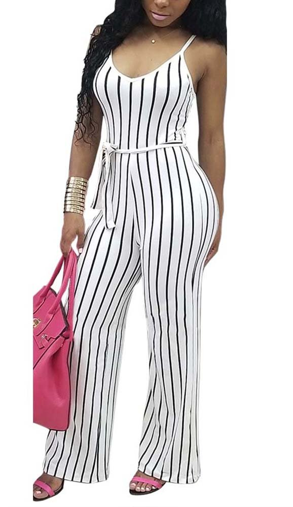 Deloreva Women Striped Romper and Jumpsuit - Summer Long Wide Leg Pants Spaghetti Strap Playsuit Overalls White L