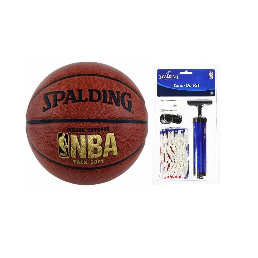 Spalding NBA Tack Soft Basketball Bundle with tune up Kit, Official Size 7 (29.5'')Bundle 2