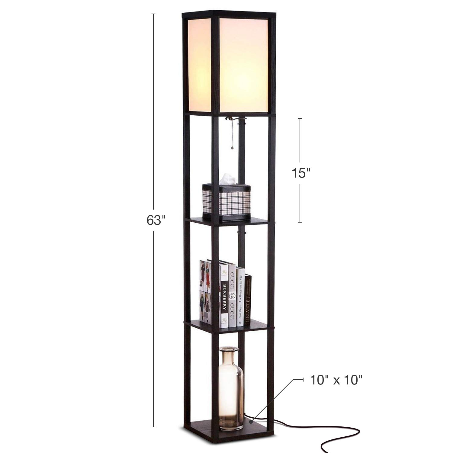 Brightech Maxwell - LED Shelf Floor Lamp - Modern Standing Light for Living Rooms & Bedrooms - Asian Wooden Frame with Open Box Display Shelves - Black by Brightech (Image #3)