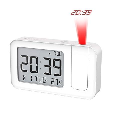 MoKo Proyección LCD Digital Reloj Despertador, Reloj Alarma ...