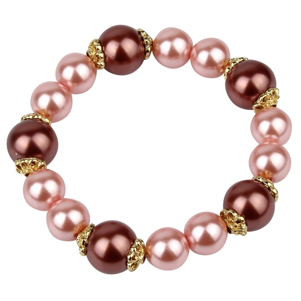 Pink Glass Pearl Stretch Bracelet