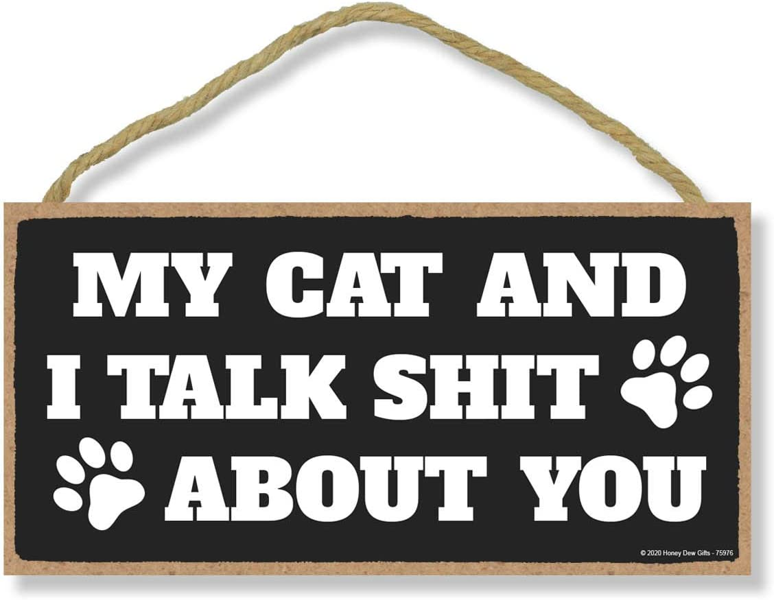 Honey Dew Gifts, My Cat and I Talk Shit About You, Funny Wooden Home Decor for Cat Pet Lovers, Decorative Wall Hanging Sign, 5 Inches by 10 Inches