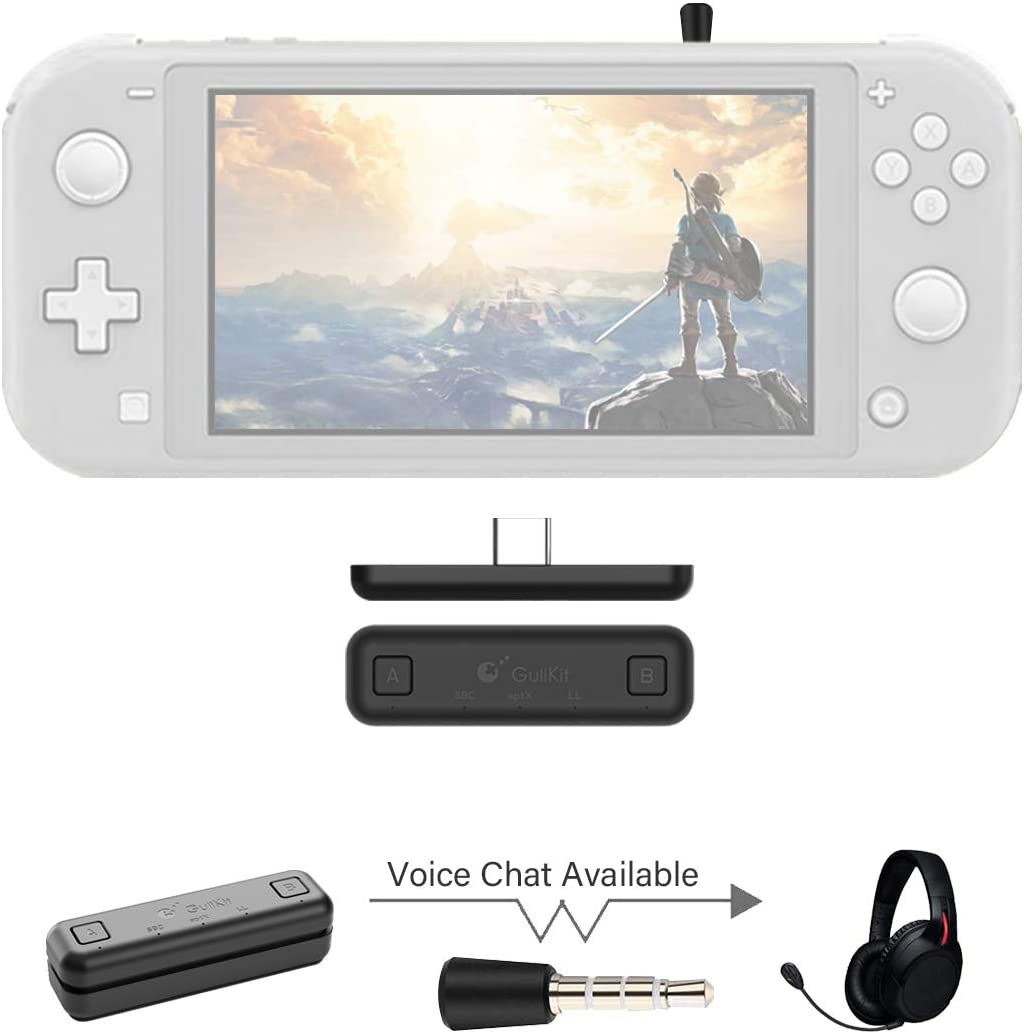 GuliKit Route Air Voice Chat Bluetooth Audio Adaptador de transceptor USB NS07 Pro para Nintendo Switch/Switch Lite / PS4 / PC, 5 mm, sin retraso, Plug and Play, Negro