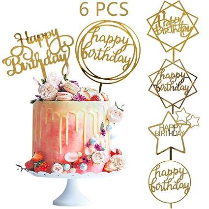 Efive Arts - Decoración para tarta de cumpleaños (6 unidades ...