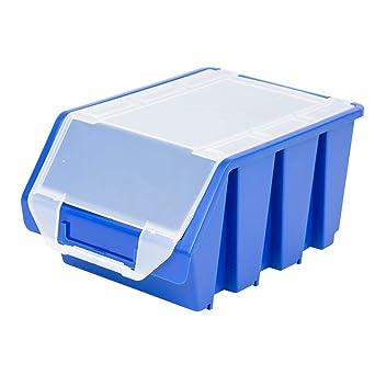 Cajas Grandes de estantería con tapa 3,8 litros Cajas de almacenamiento estante Depósito Caja