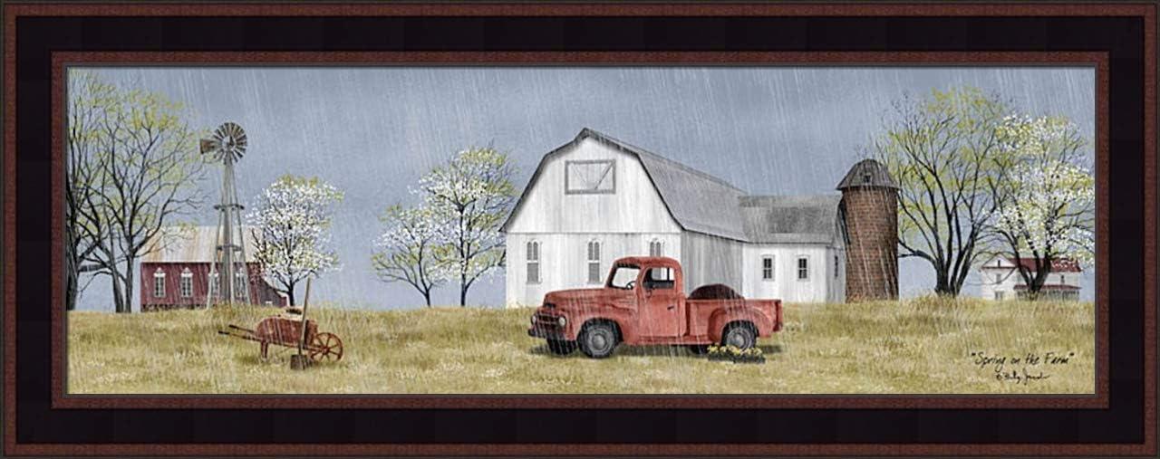 Home Cabin Décor 'Spring On The Farm' by Billy Jacobs 11x27 Rain Flowers Dirt Old Truck Barn Silo Windmill Wheel Barrow Budding Trees Seasons Framed Art Print Picture