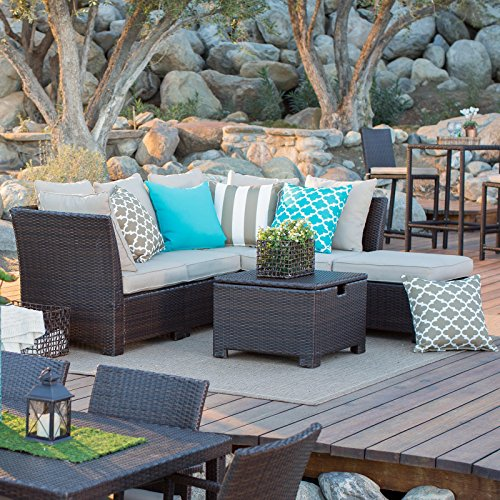 Dark Brown Modern 6 pc All Weather Wicker Patio Conversation Set | Contemporary Furniture to any Outdoor by the Veranda, Porch, Garden, Pool or Deck