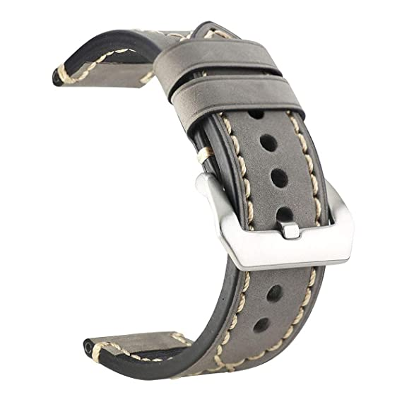 5f4ad14e456 ZLIMSN Thick Genuine Leather Brown Black Watch Band Strap Stainless Steel  Buckle 20 mm 22mm 24mm